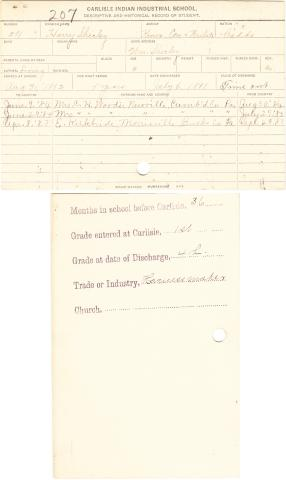 Harry Shirley Student File