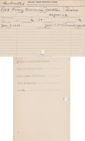 Henry Hennessey Student File