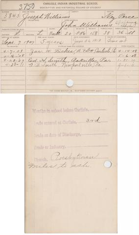 Joseph Williams Student File