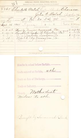Charlotte Welch Student File