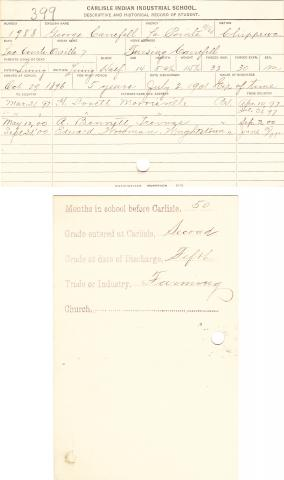 George Carefell Student File