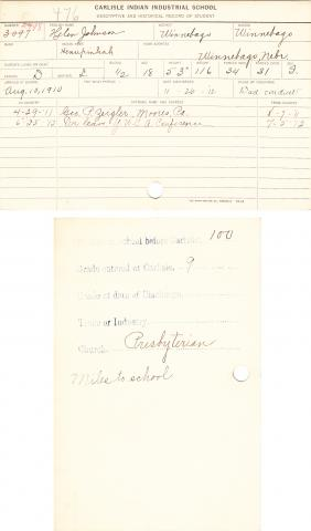 Helen Johnson (Henupinkah) Student File