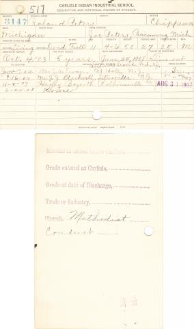 Roland Peters Student File