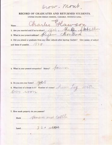 Charles Clawson Student File