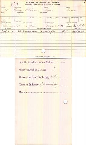 George Thomas Student File