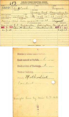 Peter A. Cook Student File