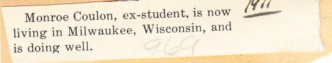 Monroe Coulon Student File