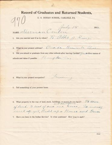 Sherman Coulon Student File