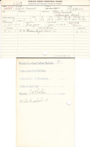 Alfred Lamont Student File