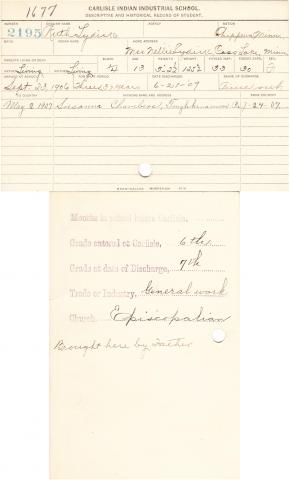 Ruth Lydick Student File