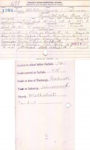 Susie Whitetree Student File