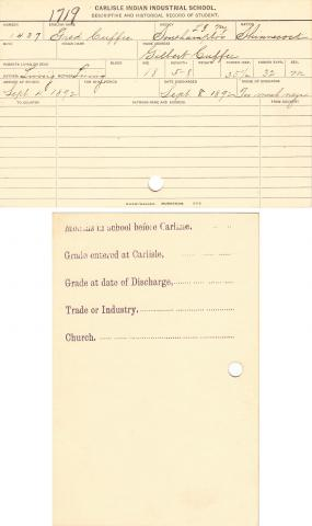 Fred Cuffee Student File