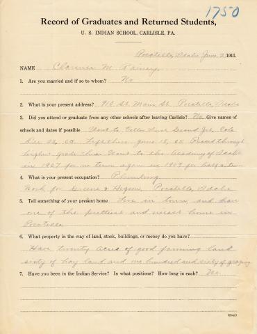 Clarence M. Rainey Student File