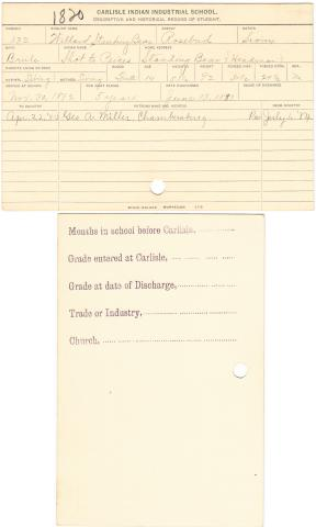 Willard Standing Bear (Shot to Peices) Student File