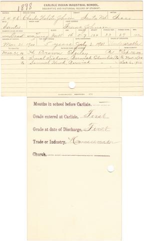 Charles Webster Johnson Student File