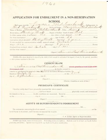 Francis Red Tomahawk Student File