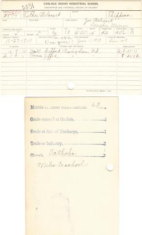 Esther Belcourt Student File