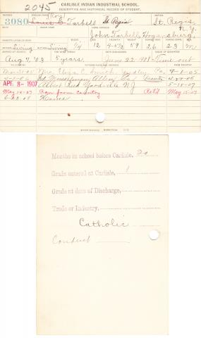 Lewis Roy Tarbell Student File