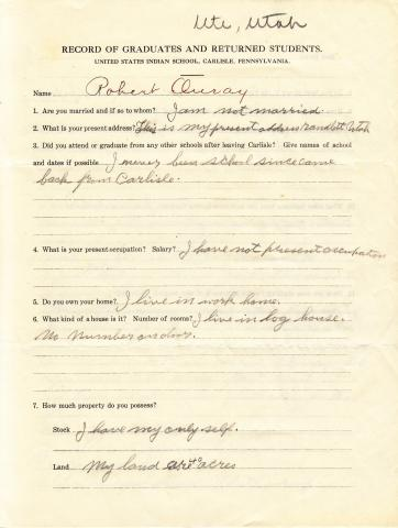 Robert Ouray Student File