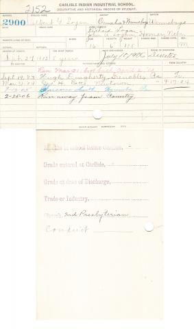Albert G. Logan Student File