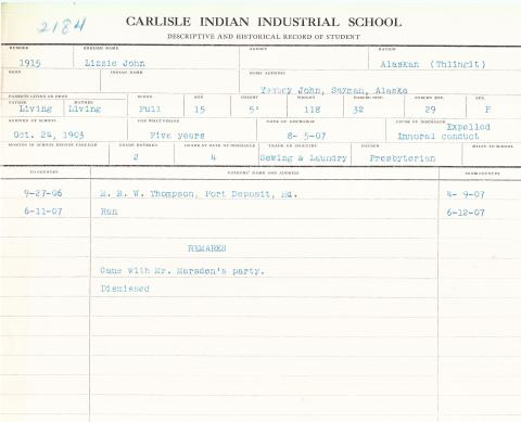 Lizzie John Student File