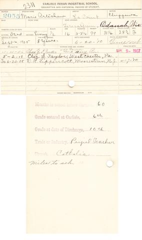 Marie Arteshaw Student File