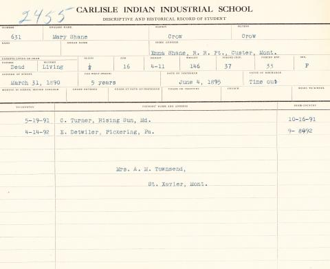 Mary Shane Student File