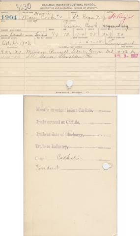 Mamie Cook Student File