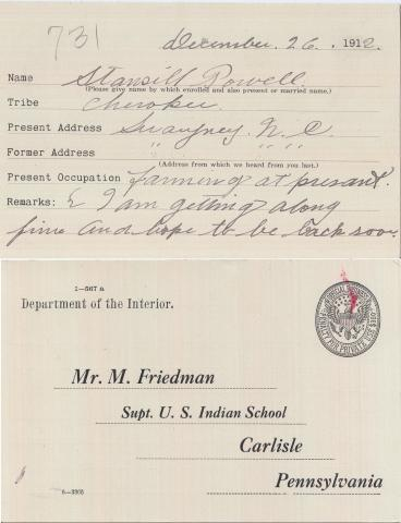 Stansill Powell Student File