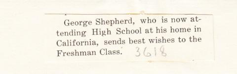 George Shepperd Student File