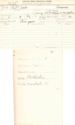 Paul C. Jacobs Student File