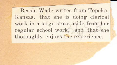 Bessie Wade Student File
