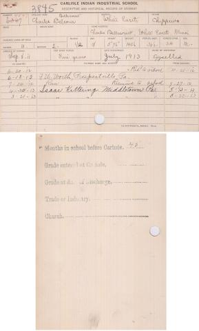 Charles Belcourt Student File