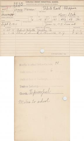 James Warren Student File