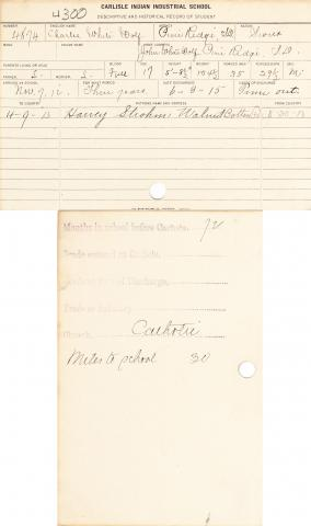 Charles White Wolf Student File
