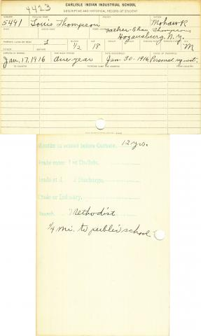 Louis Thompson Student File