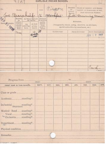 Joseph Bear Chief Student File