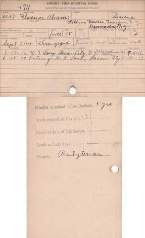 Florence Abrams Student File