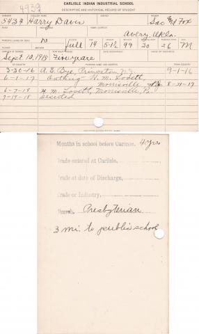 Harry Davis Student File