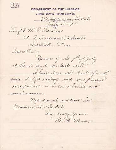 George W. Means Student File