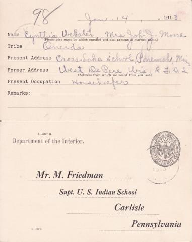Cynthia Webster Student File