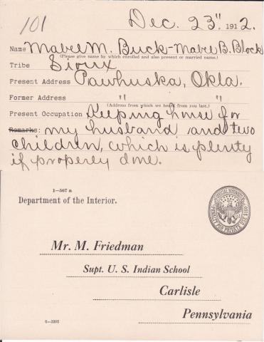 Mabel Buck Student File