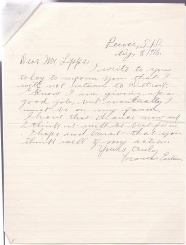 Francis Eastman Student File