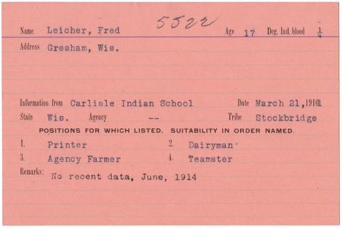 Fred Leicher Student File