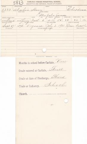 Abraham Henry Student File