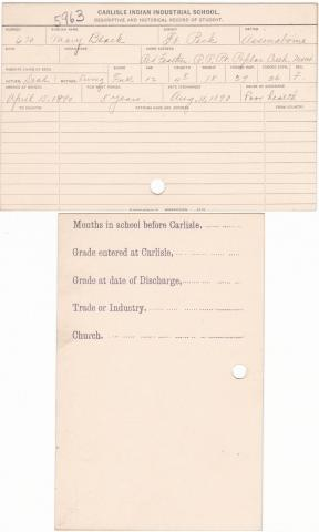 Mary Black Student File