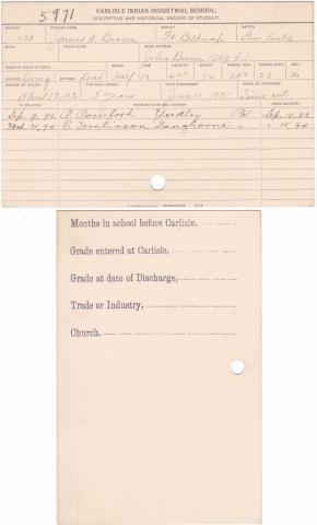 James A. Brown Student File