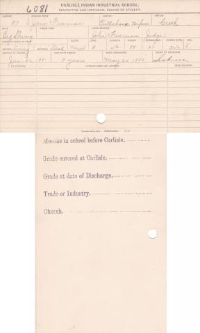 Jane Freeman Student File