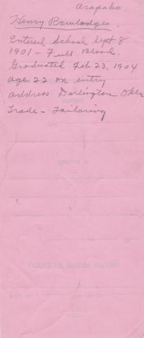 Henry Rowlodges Student File