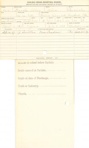 Blanche Abbay (We-na-bitty) Student Information Card